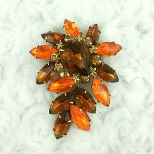 Vintage Large Brown and Orange Sparkling Brooch